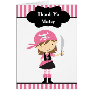 Pink Pirate Girl Thank You Note Cards Greeting Cards