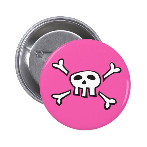 Pink pirate scull cartoon pinback button for girls
