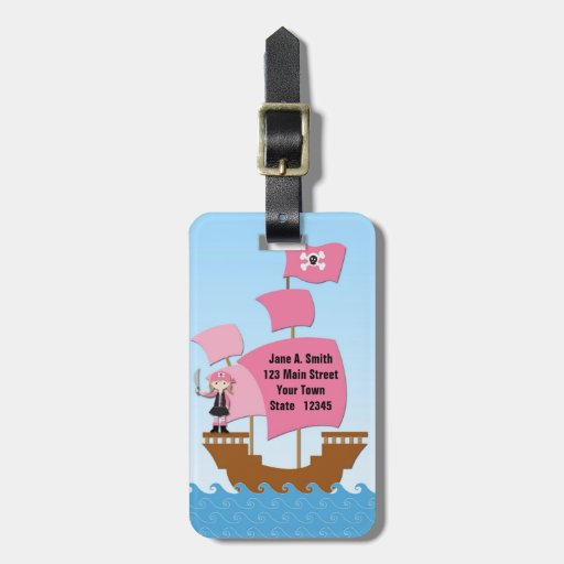 Pink Pirate Ship Travel Bag Tags