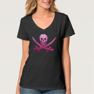 Pink Pirate Skull and Crossbones Sequins Textured T-Shirt