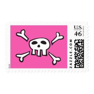 Pink pirate skull cartoon postage stamp