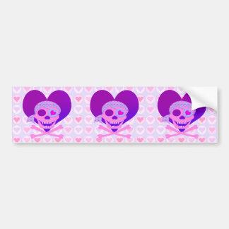 Pink Pirate Skull Heart Bumpersticker Car Bumper Sticker