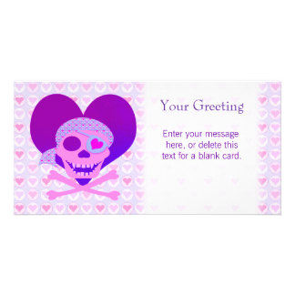 Pink Pirate Skull Heart Custom Card Photo Card