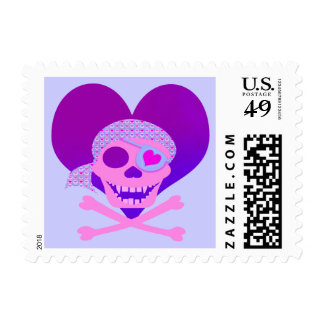 Pink Pirate Skull Heart Stamps