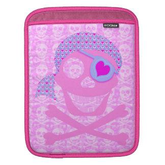 Pink Pirate Skull iPad Sleeve