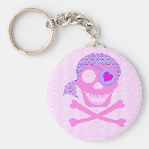 Pink Pirate Skull Keychain