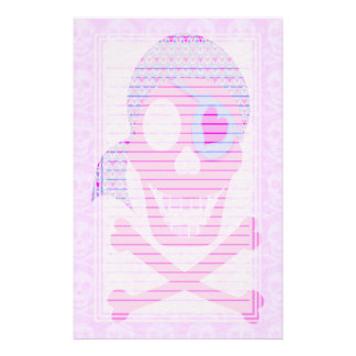 Pink Pirate Skull Lined Stationery