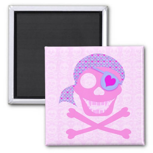 Pink Pirate Skull Magnets