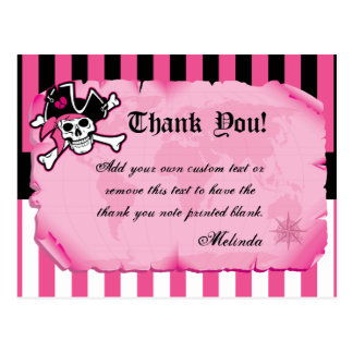 Pink Pirate Thank You Cards