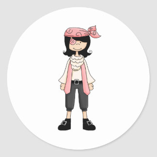 Pink Pirates · Pirate Girl #10 Round Sticker
