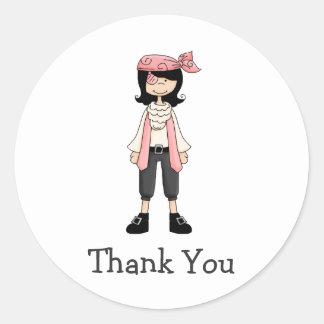Pink Pirates · Pirate Girl #10 Round Stickers