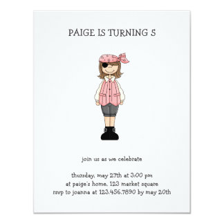 Pink Pirates · Pirate Girl #1 4.25x5.5 Paper Invitation Card