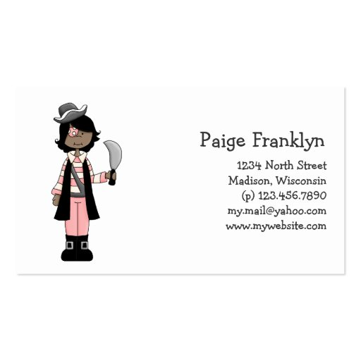 Pink Pirates · Pirate Girl #5 Double-Sided Standard Business Cards (Pack Of 100)