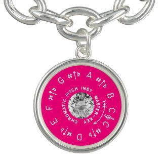 Pink Pitch Pipe Faux Diamond Charm Bracelets