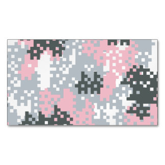 Pink Pixel Camouflage Magnetic Business Card