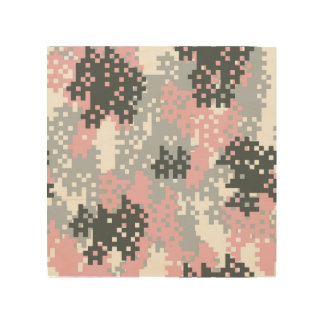 Pink Pixel Camouflage Wood Wall Art