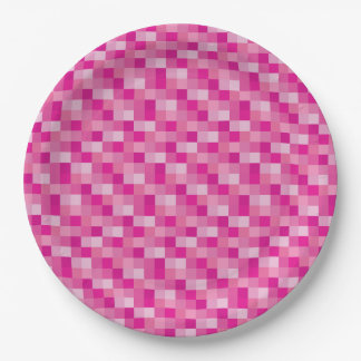 Pink Pixelated Pattern Paper Plate