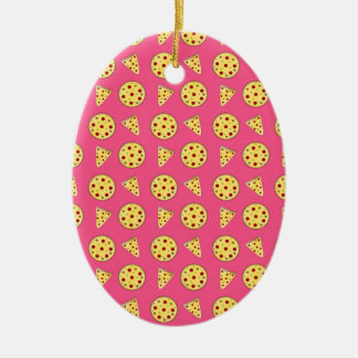 pink pizza pattern christmas ornament