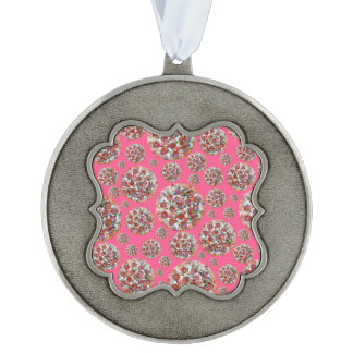 Pink pizza pie scalloped ornament
