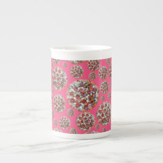 Pink pizza pie bone china mugs