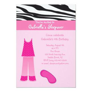 Pink PJ's  /Zebra Sleepover Birthday Invitation