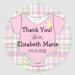 Pink Plaid and Baby Outfit Classic Round Sticker