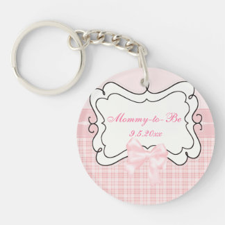 Pink Plaid and Bow Mommy to Be Double-Sided Round Acrylic Keychain