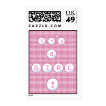 Pink Plaid Baby Annoncement Postage