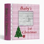 Pink Plaid Baby's First Christmas Photo Album 3 Ring Binder