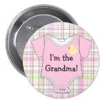 Pink Plaid-Baby Shower 3 Inch Round Button
