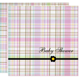 Pink Plaid Baby Shower Card