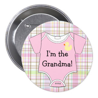 Pink Plaid Baby Shower I'm The Grandma Button