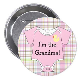 Pink Plaid Baby Shower I'm The Grandma Button
