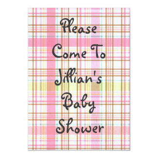 Pink Plaid Baby Shower Invitation Gray Lettering