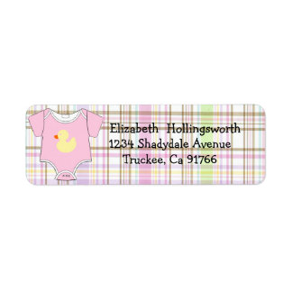 Pink Plaid-Baby Shower Label