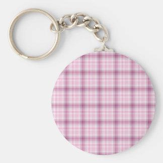 Pink Plaid Basic Round Button Keychain