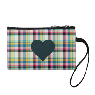 Pink plaid black heart key coin clutch coin purses