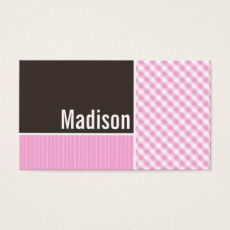 Pink Plaid; Checkered Business Card