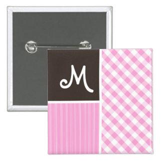 Pink Plaid; Checkered Button