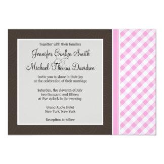 "Pink Plaid; Checkered 5"" X 7"" Invitation Card"