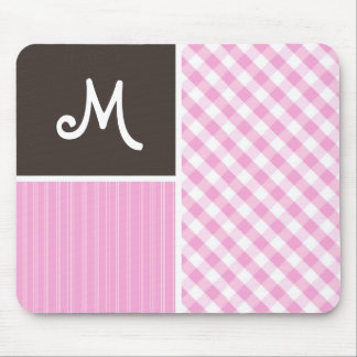 Pink Plaid Checkered Mouse Pads