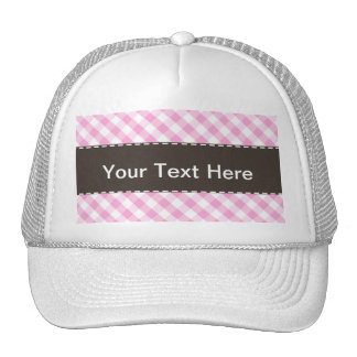Pink Plaid; Checkered Pattern Trucker Hat