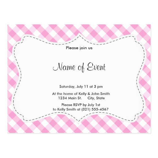 Pink Plaid; Checkered Pattern Post Cards