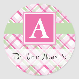 Pink Plaid Customized Seal Classic Round Sticker