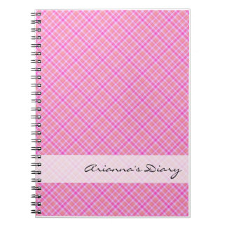 Pink Plaid Diary Notebook