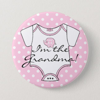 Pink Plaid Elephant Polka Dots I'm The Grandma Pinback Button