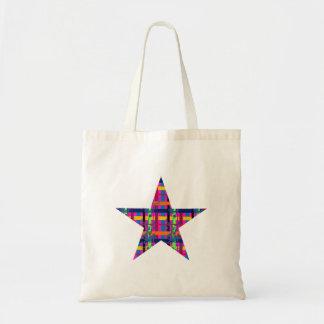 Pink Plaid Flourish Star Budget Tote Bag