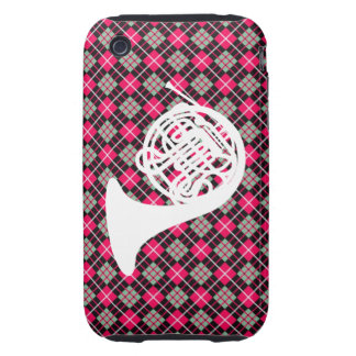 Pink Plaid French Horn Tough iPhone 3 Cover