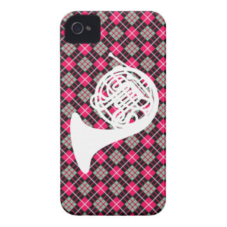 Pink Plaid French Horn iPhone 4 Case-Mate Case