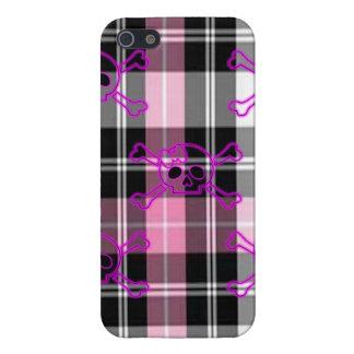 Pink Plaid Gothic Skull I-Phone Case